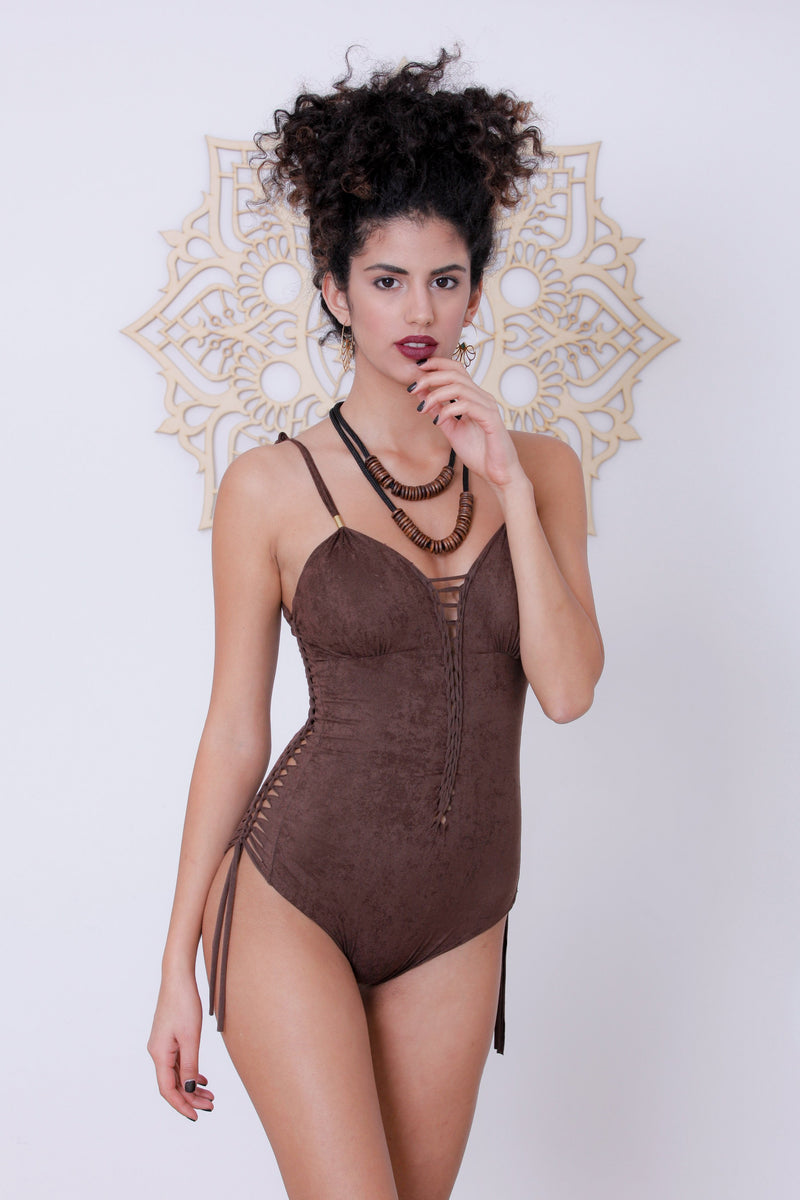 "Suede Look Dark Brown One Piece Swimsuit For Women ""DELI"" - goa-magic-fashion"