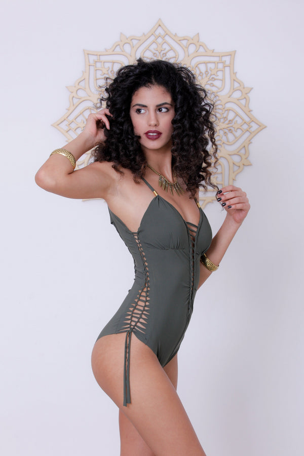 "Olive Green One Piece Swimsuit For Women ""DELI"" (Lycra Fabric) - One Piece - [By Goa Magic Fashion]"