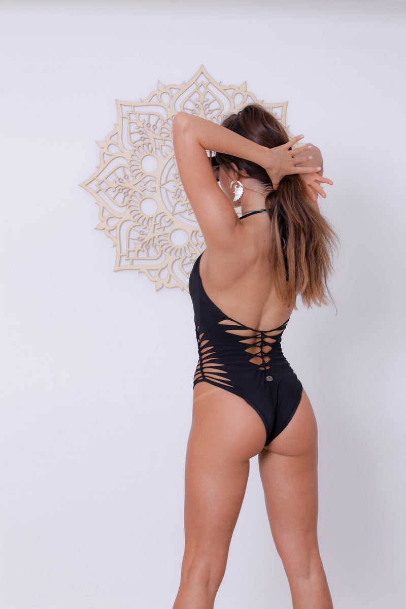 Black Halter Neck One Piece Swimsuit For Women (Lycra Fabric) - One Piece - [By Goa Magic Fashion]