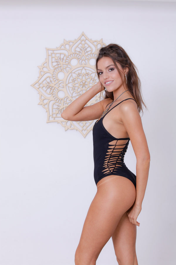 "Black One Piece Swimsuit For Women ""HILI"" (Lycra Fabric) - One Piece - [By Goa Magic Fashion]"