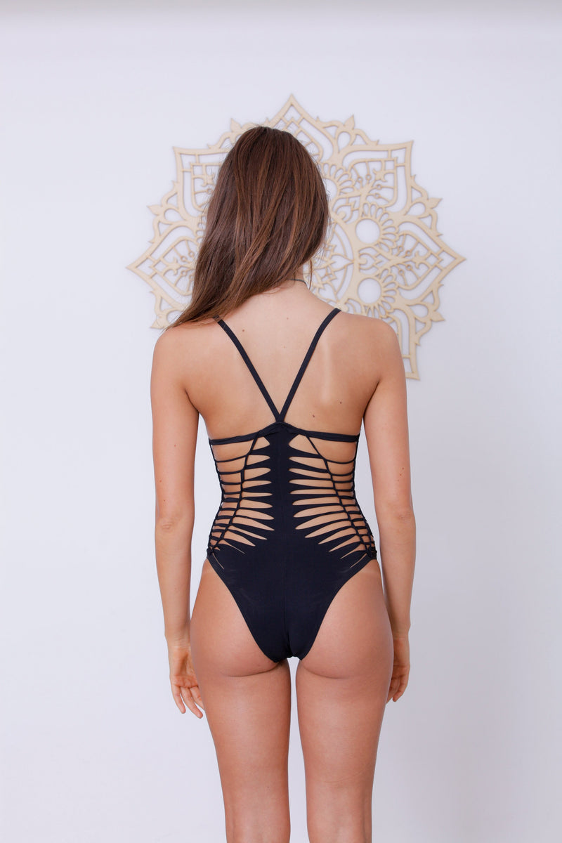 "Black One Piece Swimsuit For Women ""HILI"" (Lycra Fabric) - goa-magic-fashion"