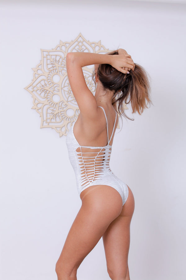 "White One Piece Swimsuit For Women ""HILI"" (Lycra Fabric) - goa-magic-fashion"
