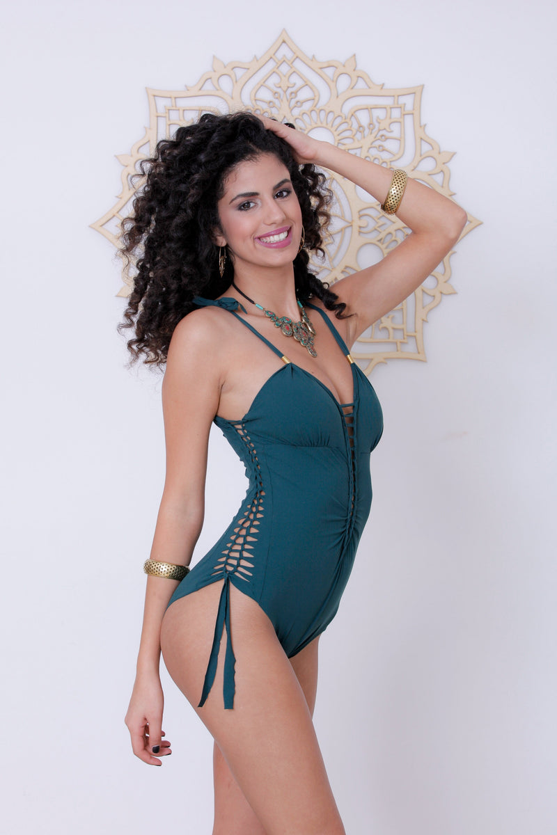 "Green One Piece Swimsuit For Women ""DELI"" (Lycra Fabric) - One Piece - [By Goa Magic Fashion]"