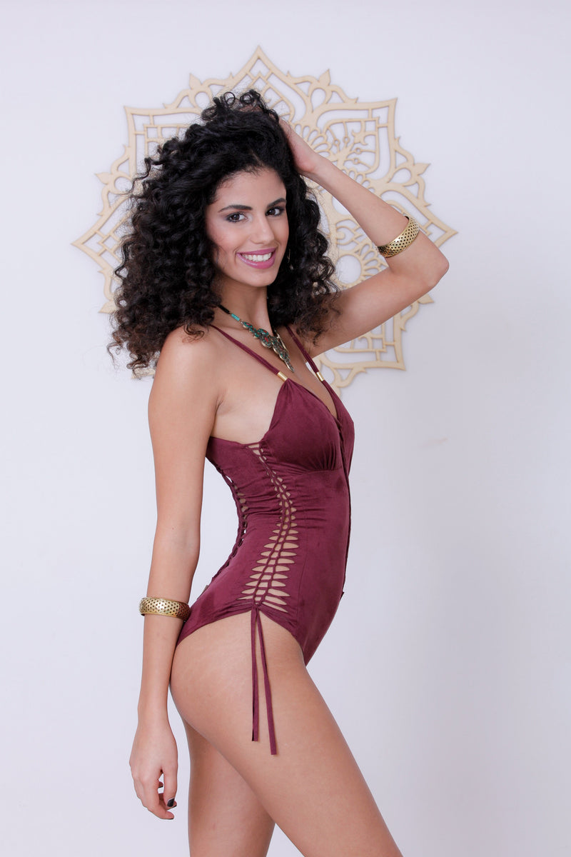 "Suede Look Bordeaux One Piece Swimsuit For Women ""DELI"" - goa-magic-fashion"