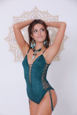 "Suede Look Green One Piece Swimsuit For Women ""SIDE"" - goa-magic-fashion"