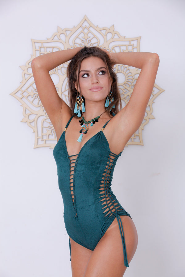 "Suede Look Green One Piece Swimsuit For Women ""SIDE"" - One Piece - [By Goa Magic Fashion]"