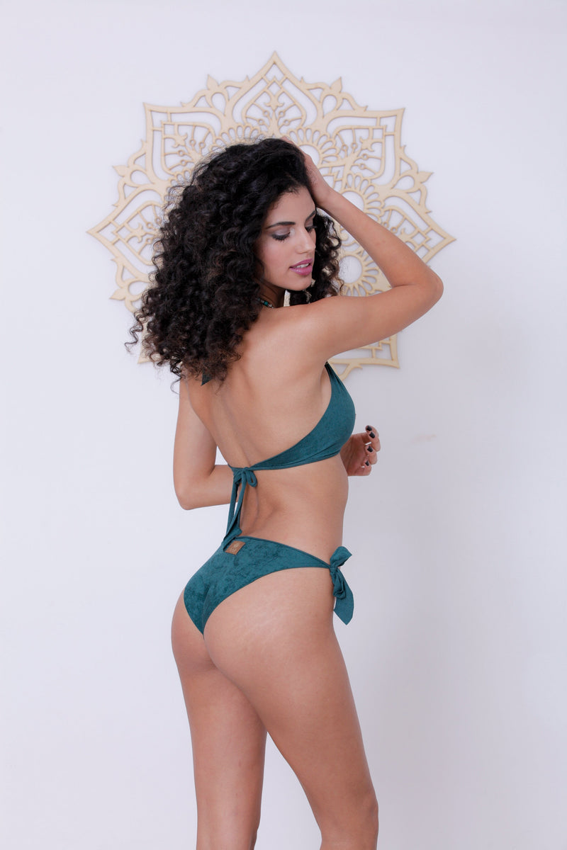 "Suede Look Green Bikini Set For Women ""BEADS"" - goa-magic-fashion"