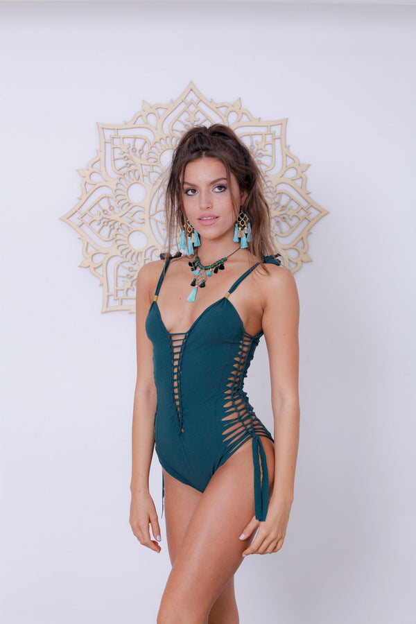 "Green One Piece Swimsuit For Women ""SIDE"" (Lycra Fabric) - goa-magic-fashion"