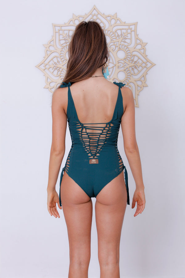 "Green One Piece Swimsuit For Women ""SIDE"" - One Piece - [By Goa Magic Fashion]"