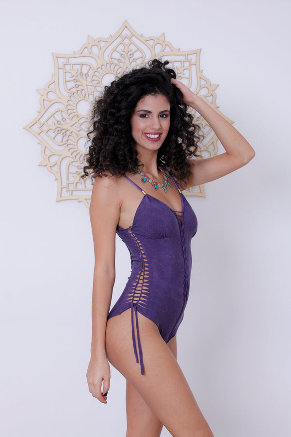 "Shabby Purple One Piece Swimsuit For Women ""DELI"" (Lycra Fabric) - goa-magic-fashion"