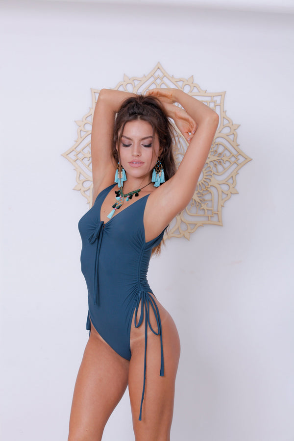 "Teal One Piece Swimsuit For Women ""SHIRA"" (Lycra Fabric) - goa-magic-fashion"