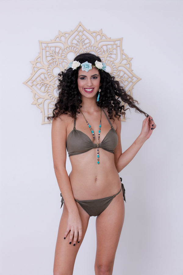 "Suede Look Olive Green Bikini Set For Women ""BEADS"" - goa-magic-fashion"