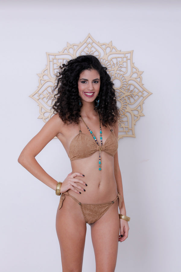 "Suede Look Beige Bikini Set For Women ""BEADS"" - goa-magic-fashion"