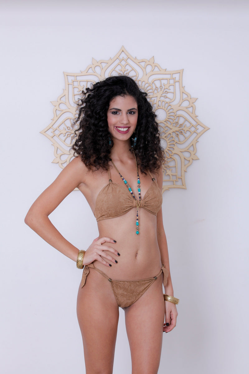 "Suede Look Beige Bikini Set For Women ""BEADS"" - Bikini - [By Goa Magic Fashion]"