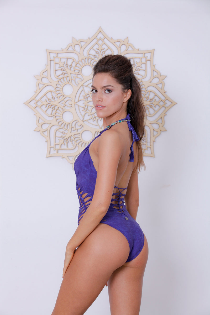 Shabby Purple Halter Neck One Piece Swimsuit For Women (Lycra Fabric) - goa-magic-fashion