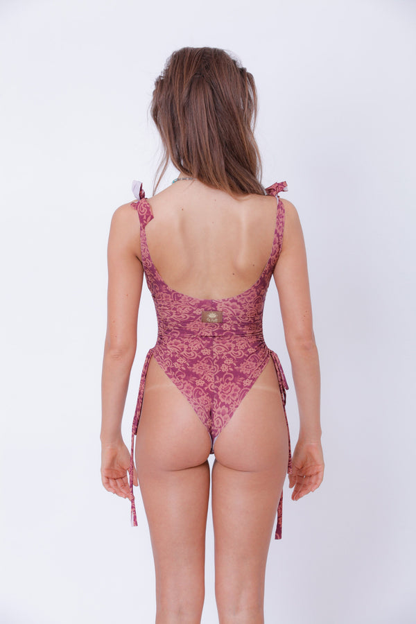 "Antique Pink Floral Print One Piece Swimsuit For Women ""SHIRA"" (Lycra Fabric) - goa-magic-fashion"