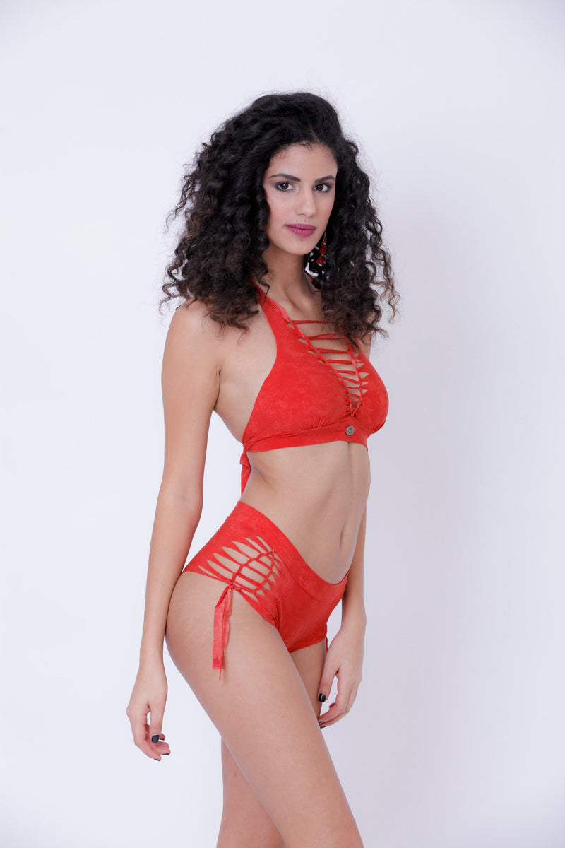 "Orange High Waisted Bikini Set For Women ""NELLY"" - Bikini - [By Goa Magic Fashion]"