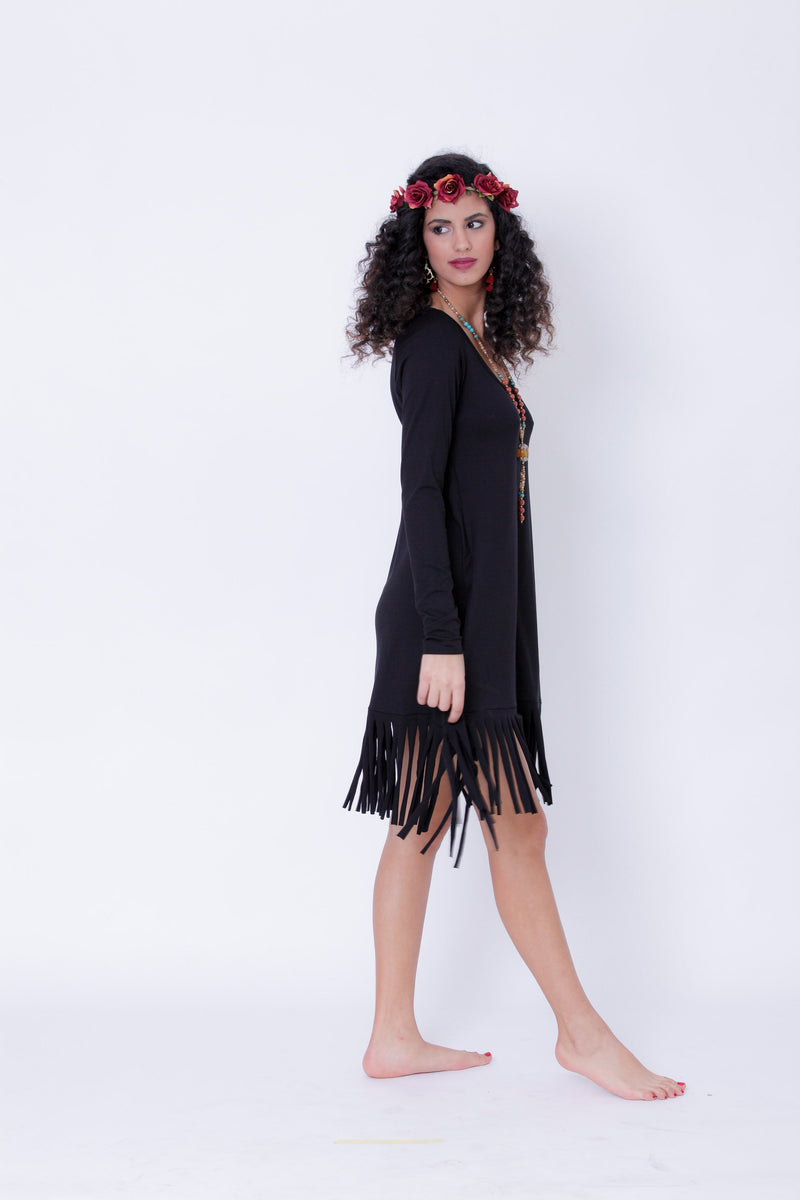 Long Sleeve Black Fringe Dress, Pixie Midi Dress - Long Sleeve Dress - [By Goa Magic Fashion]
