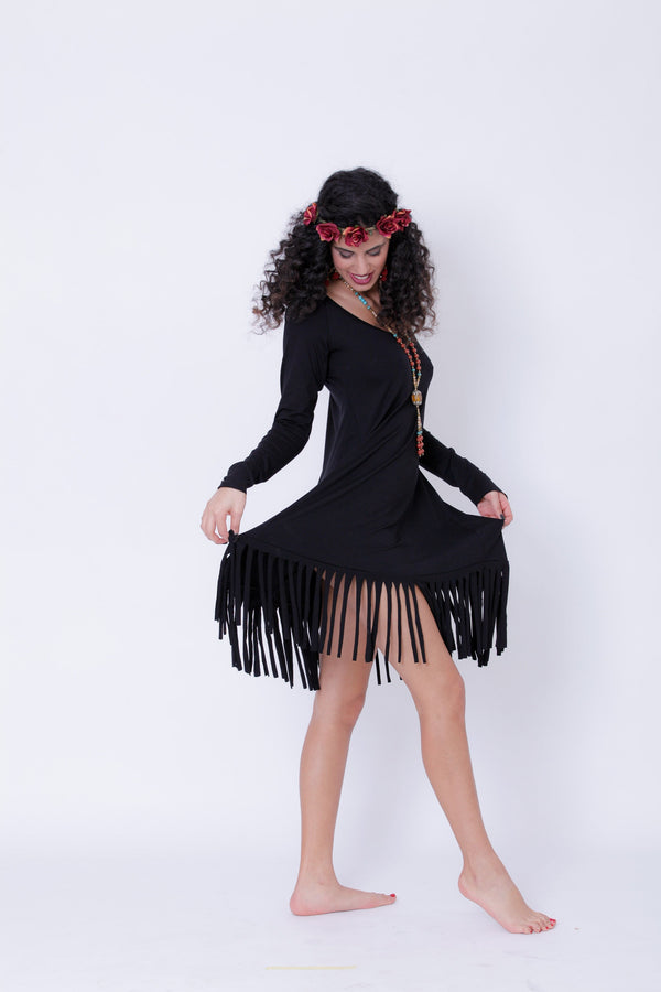 Long Sleeve Black Fringe Dress, Pixie Midi Dress - goa-magic-fashion