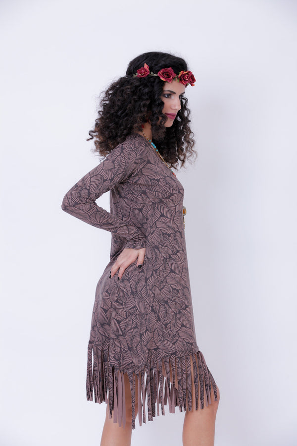 Long Sleeve Fringe Dress In Printed Brown, Pixie Midi Dress - goa-magic-fashion