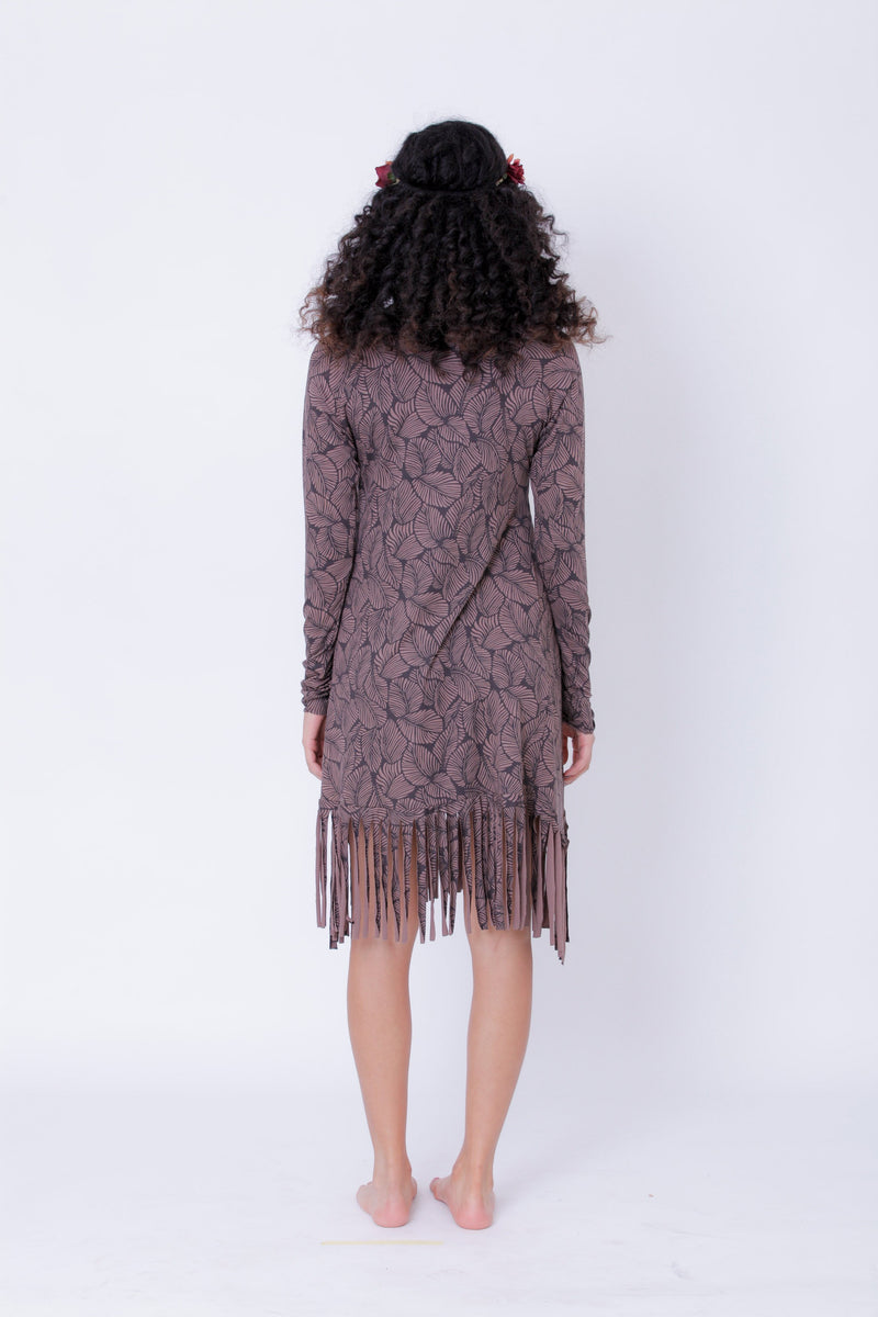 Long Sleeve Fringe Dress In Printed Brown, Pixie Midi Dress - Long Sleeve Dress - [By Goa Magic Fashion]