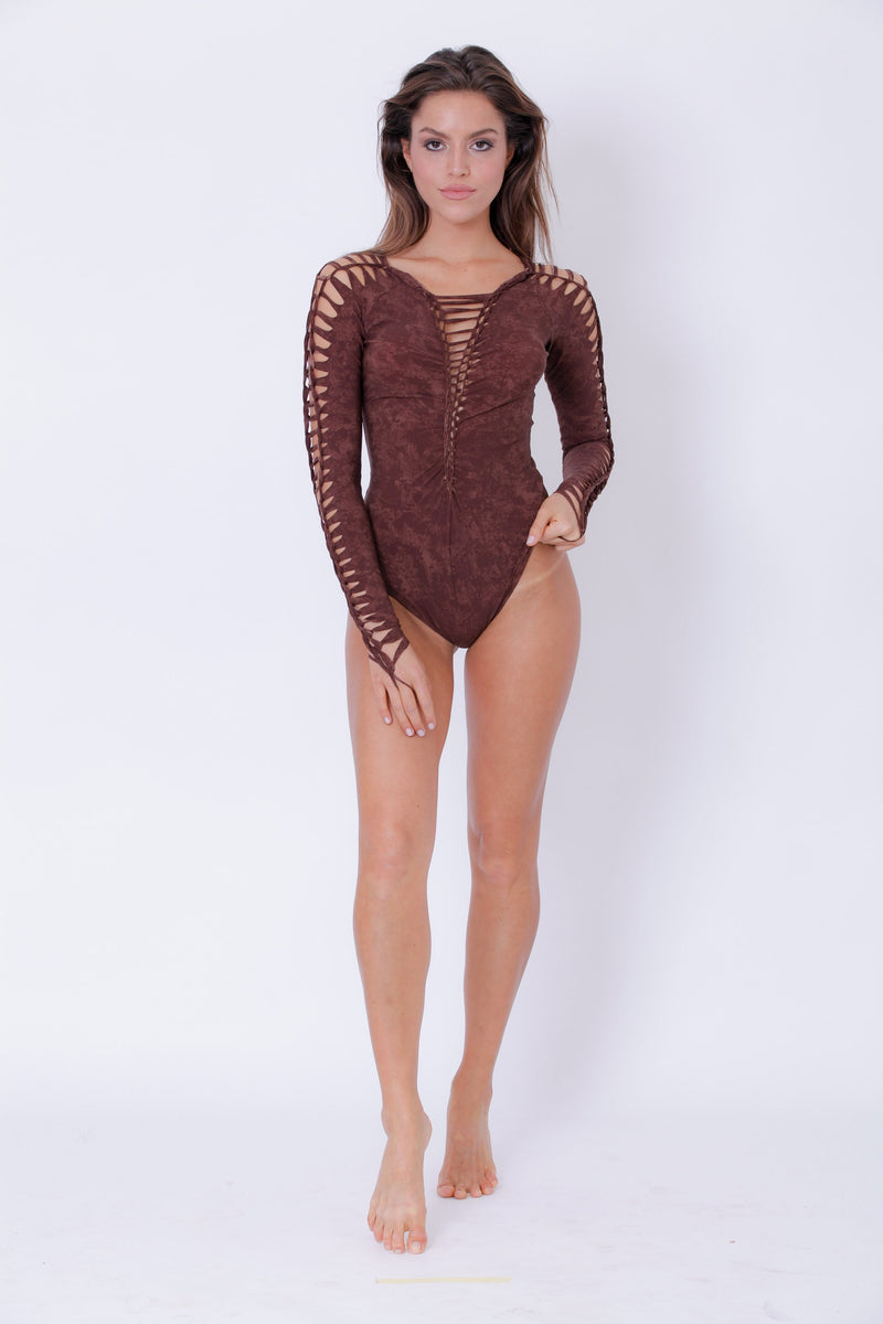 Long Sleeve Shabby Brown Leotard For Women, Dance Bodysuit - goa-magic-fashion