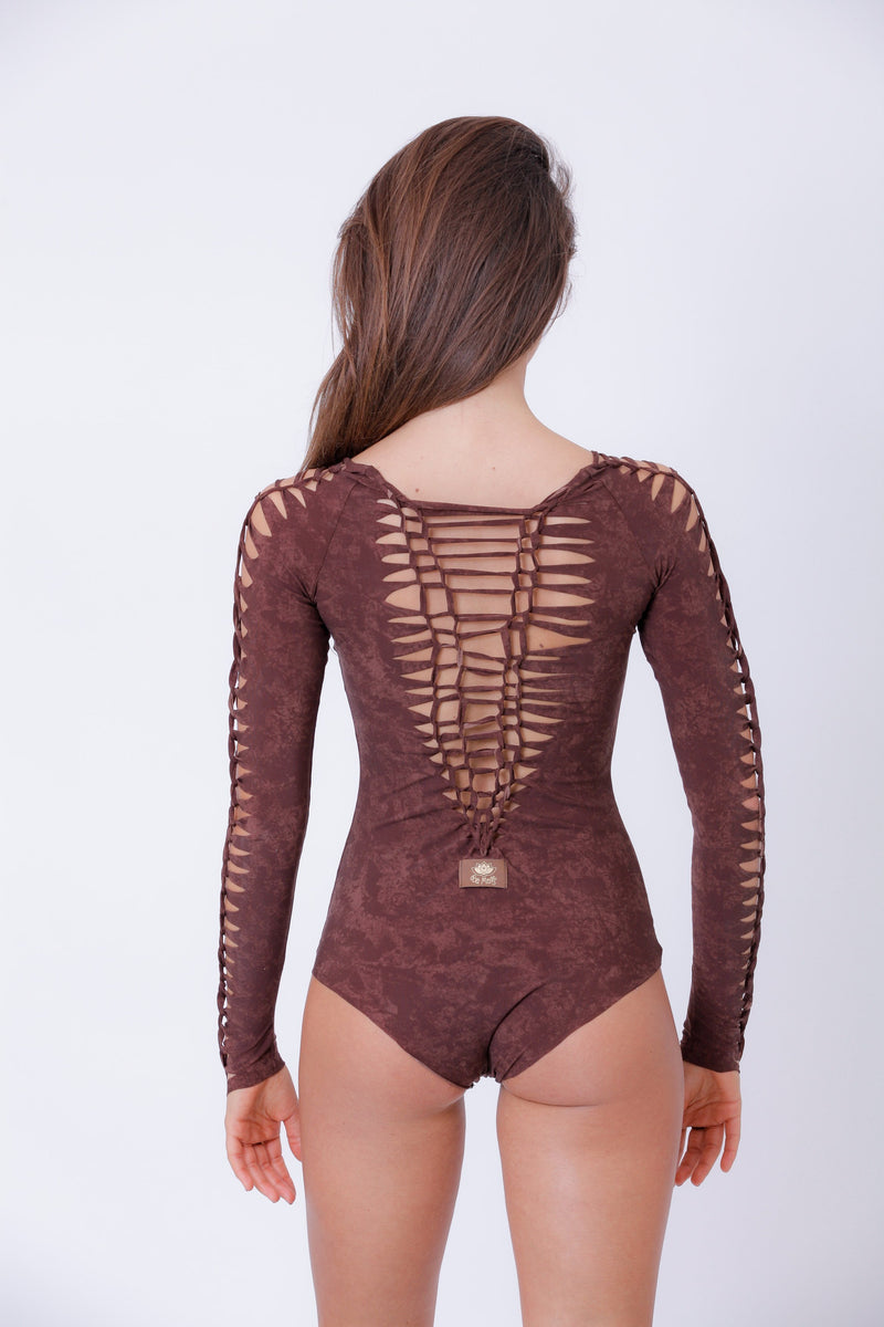 Long Sleeve Shabby Brown Leotard For Women, Dance Bodysuit - Long Sleeve Bodysuit - [By Goa Magic Fashion]