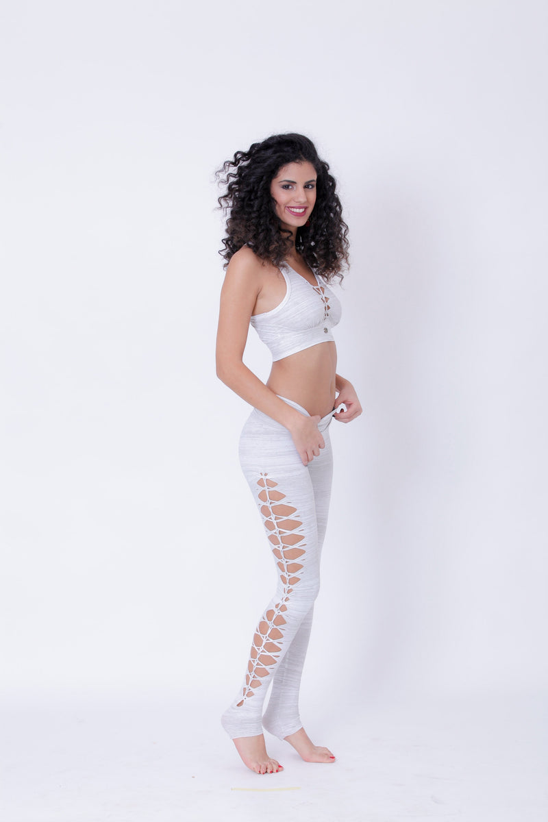 Yoga Legging For Women In Printed White - goa-magic-fashion