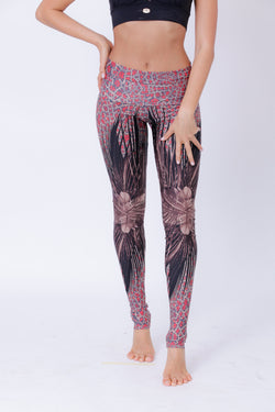 Yoga Legging For Women In Feathers Print - goa-magic-fashion