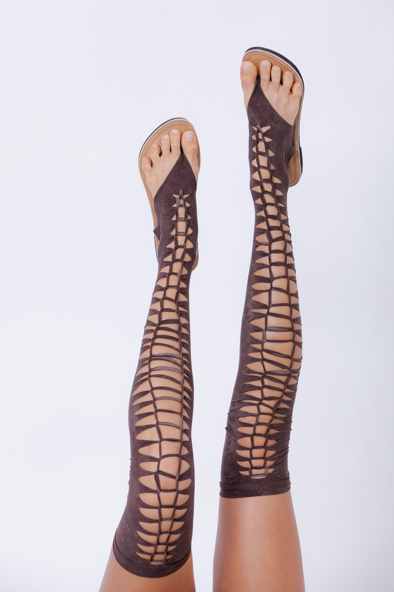 Over The Knee Gladiator Sandals In Brown