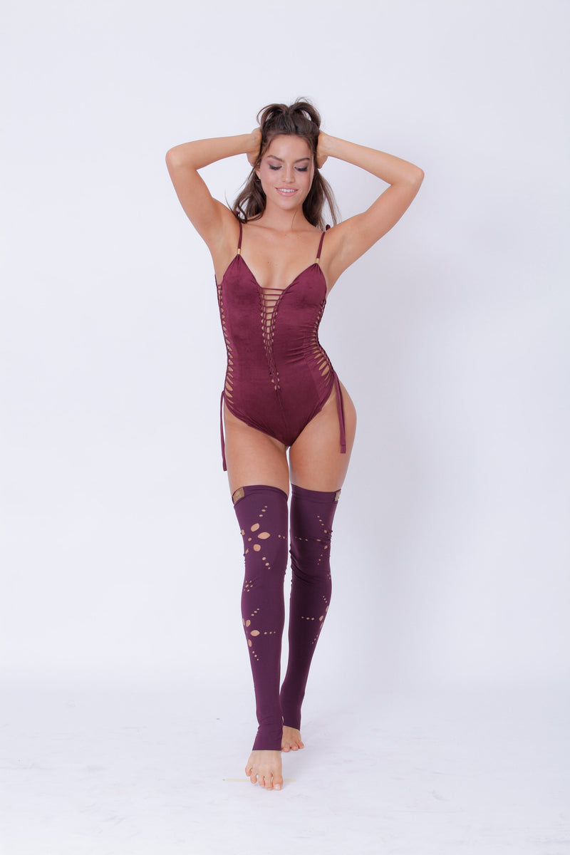 "Suede Look Bordeaux One Piece Swimsuit For Women ""SIDE"" - goa-magic-fashion"