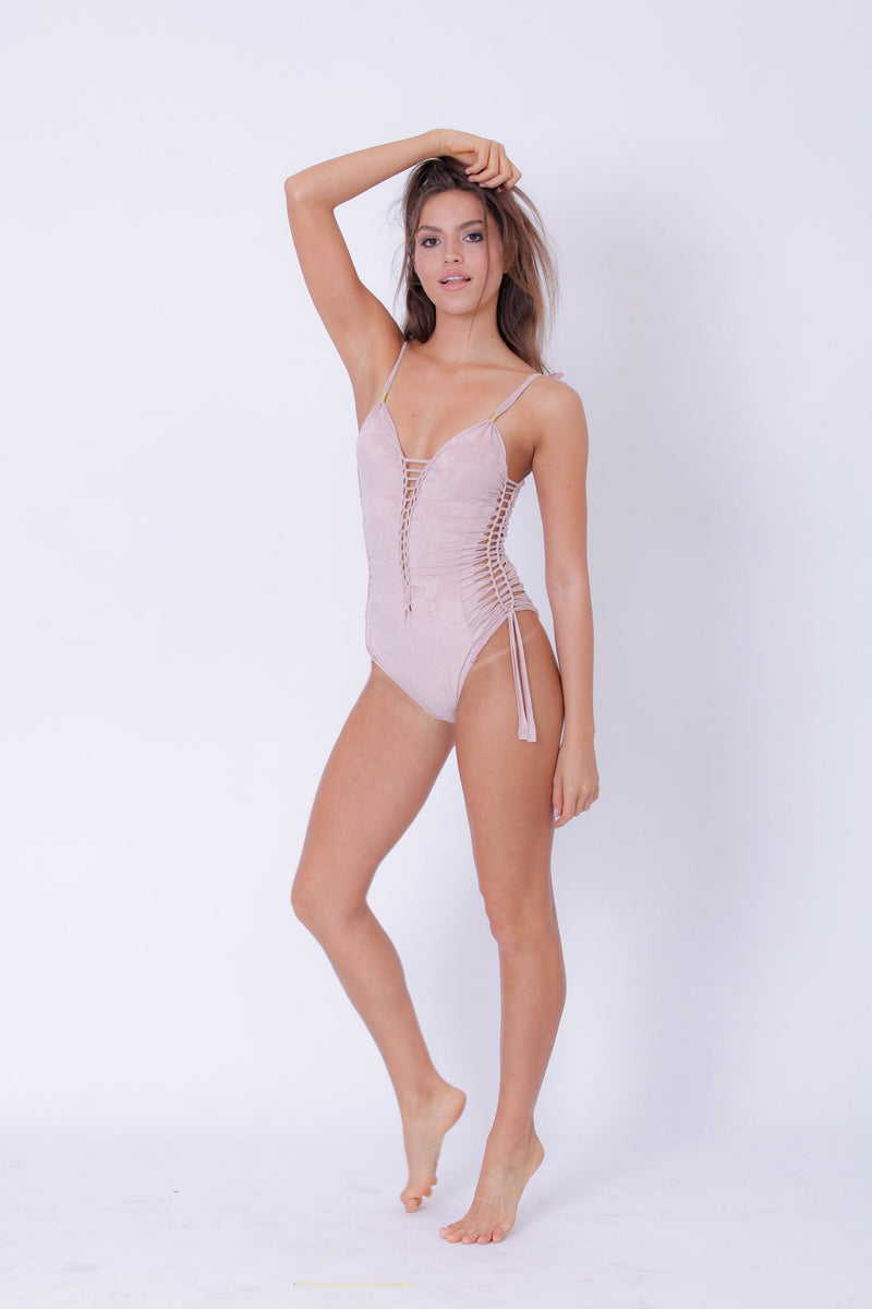 "Suede Look Antique Pink One Piece Swimsuit For Women ""SIDE"" - goa-magic-fashion"