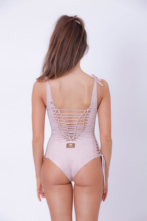 "Suede Look Antique Pink One Piece Swimsuit For Women ""SIDE"" - One Piece - [By Goa Magic Fashion]"