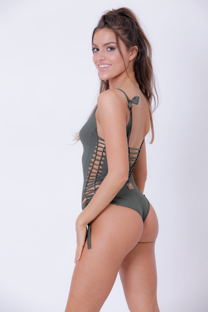 "Olive Green One Piece Swimsuit For Women ""SIDE"" (Lycra Fabric) - goa-magic-fashion"