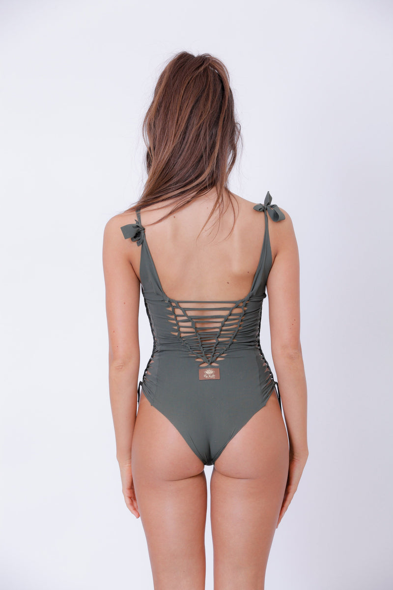 "Olive Green One Piece Swimsuit For Women ""SIDE"" (Lycra Fabric) - One Piece - [By Goa Magic Fashion]"