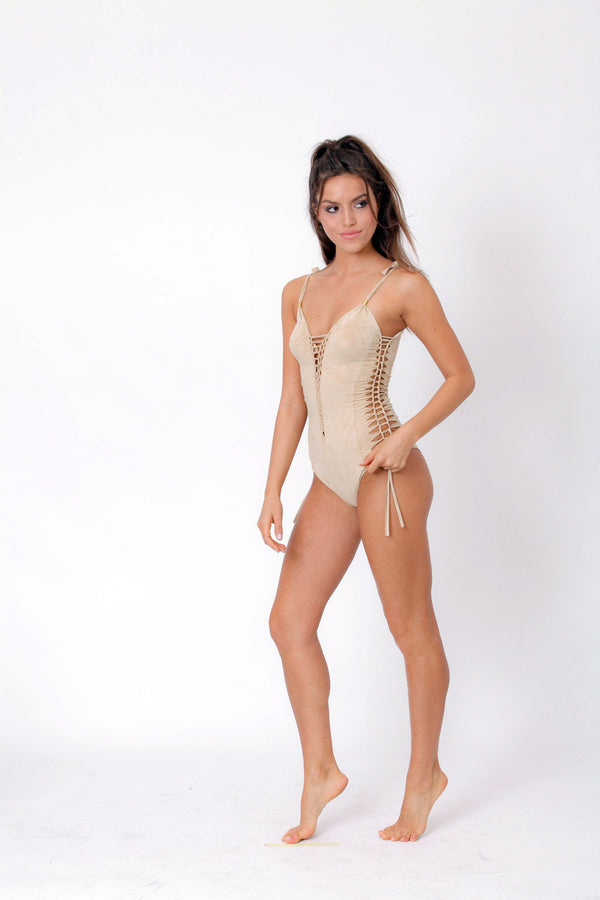"Suede Look Light beige One Piece Swimsuit For Women ""SIDE"" - goa-magic-fashion"