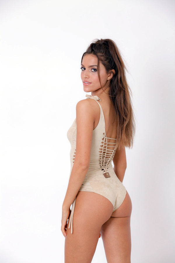 "Suede Look Light beige One Piece Swimsuit For Women ""SIDE"" - One Piece - [By Goa Magic Fashion]"