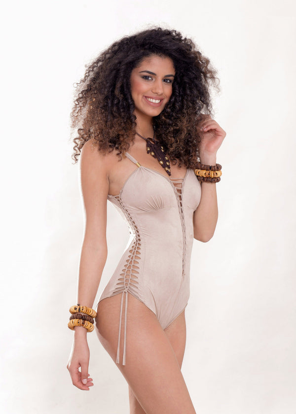 "Suede Look Cream One Piece Swimsuit For Women ""DELI"" - One Piece - [By Goa Magic Fashion]"
