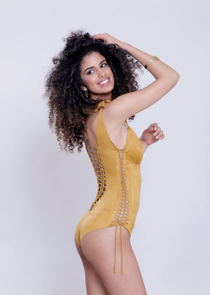 "Suede Look Mustard One Piece Swimsuit For Women ""DELI"" - goa-magic-fashion"