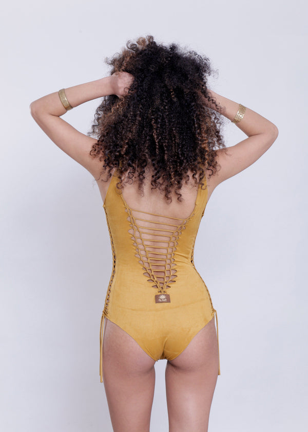 "Suede Look Mustard One Piece Swimsuit For Women ""DELI"" - One Piece - [By Goa Magic Fashion]"