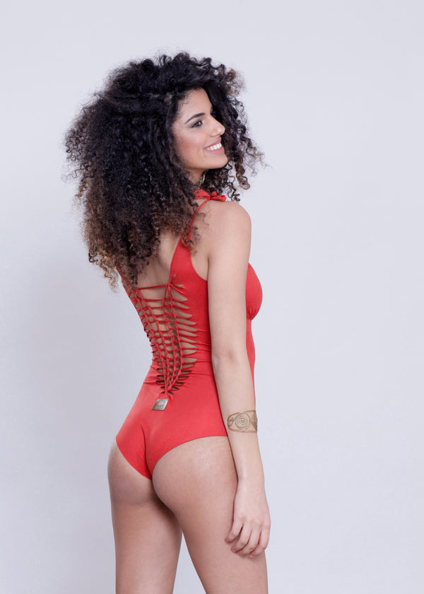 "Suede Look Orange One Piece Swimsuit For Women ""CUT"" - goa-magic-fashion"