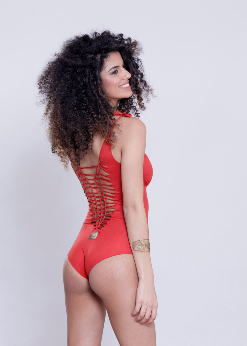 "Suede Look Orange One Piece Swimsuit For Women ""CUT"" - One Piece - [By Goa Magic Fashion]"