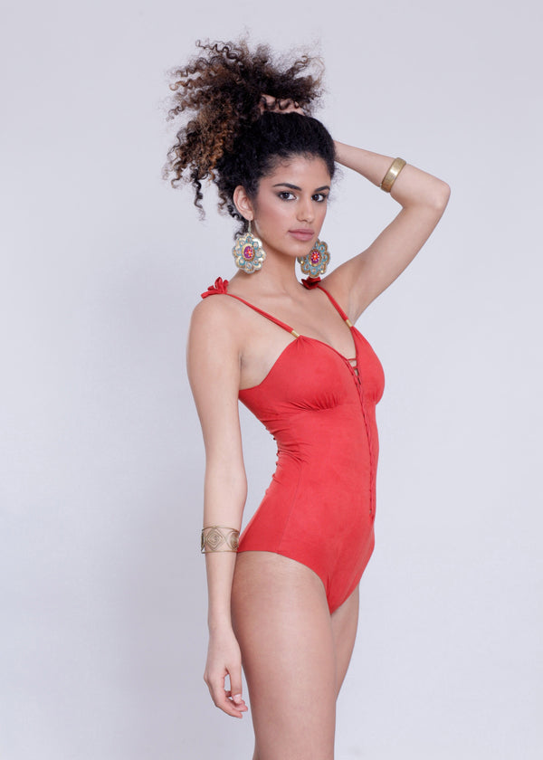 "Orange One Piece Swimsuit For Women ""CUT"" - One Piece - [By Goa Magic Fashion]"