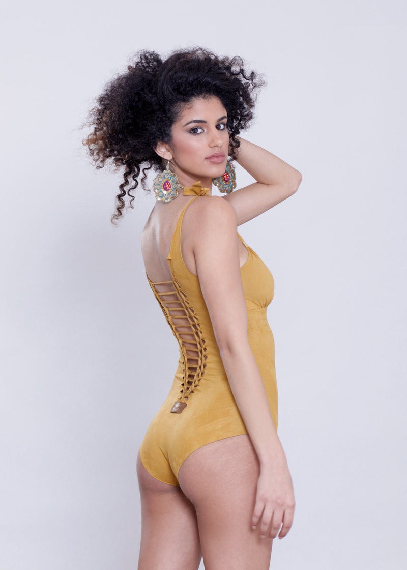 "Suede Look Mustard One Piece Swimsuit For Women ""CUT"" - goa-magic-fashion"