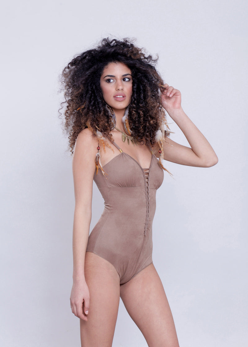 "Suede Look Light Brown One Piece Swimsuit For Women ""CUT"" - goa-magic-fashion"