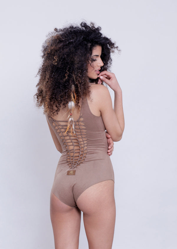"Suede Look Light Brown One Piece Swimsuit For Women ""CUT"" - One Piece - [By Goa Magic Fashion]"