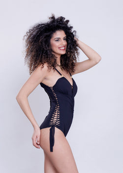 "Black One Piece Swimsuit For Women ""DELI"" (Lycra Fabric) - goa-magic-fashion"