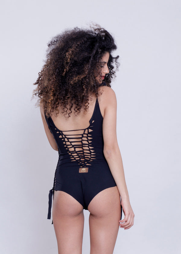 "Black One Piece Swimsuit For Women ""DELI"" (Lycra Fabric) - One Piece - [By Goa Magic Fashion]"