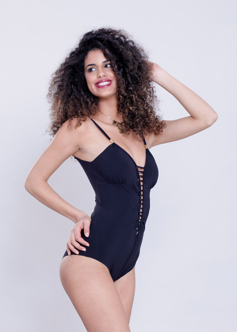 "Black One Piece Swimsuit For Women ""CUT"" (Lycra Fabric) - One Piece - [By Goa Magic Fashion]"
