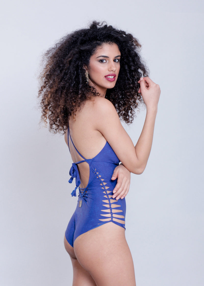 "Royal Blue One Piece Swimsuit For Women ""NICOLE"" (Lycra Fabric) - One Piece - [By Goa Magic Fashion]"